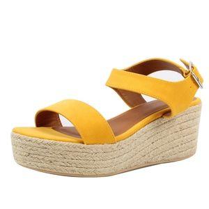 Mustard Open Toe Ankle Strap Espadrille Wedge